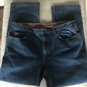 Duluth Trading Co Flex Ballroom blue jeans fleece